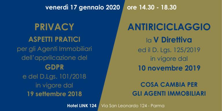 PARMA – 17/01/2020 | Privacy&Antiriciclaggio